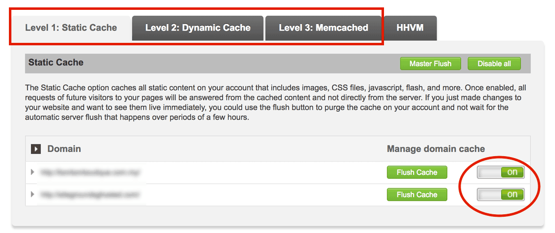 Enable different caching with a flip of switch