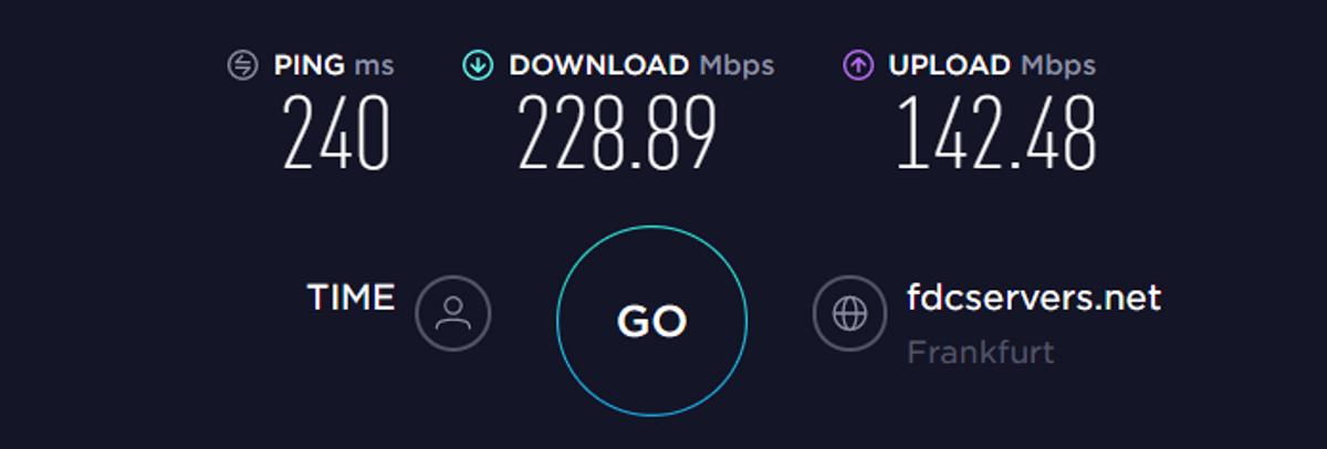 Test di velocità TorGuard UE VPN disattivata