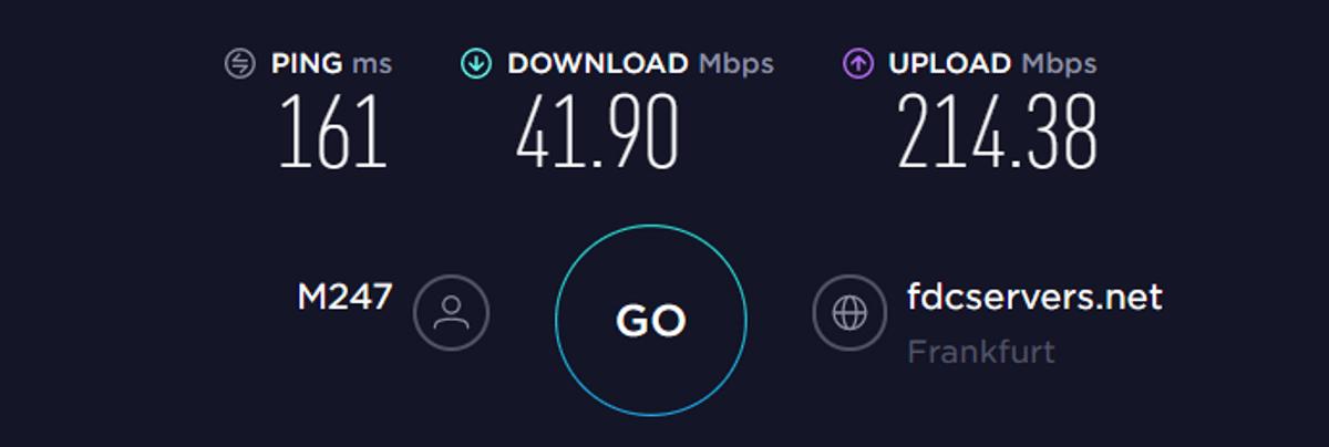 Test di velocità TorGuard UE VPN attivata