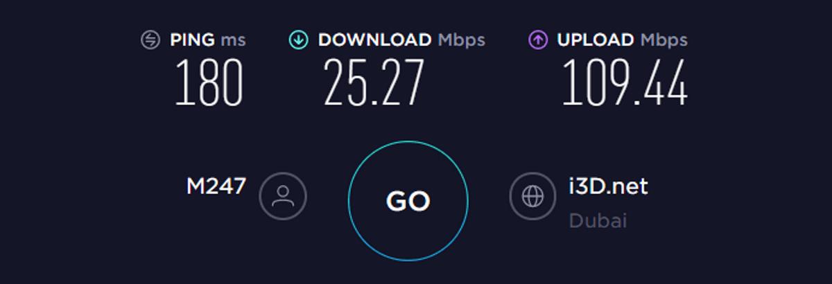 Test di velocità TorGuard Medio Oriente VPN attivata