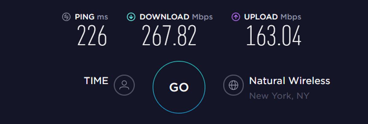 Test di velocità TorGuard USA VPN disattivata