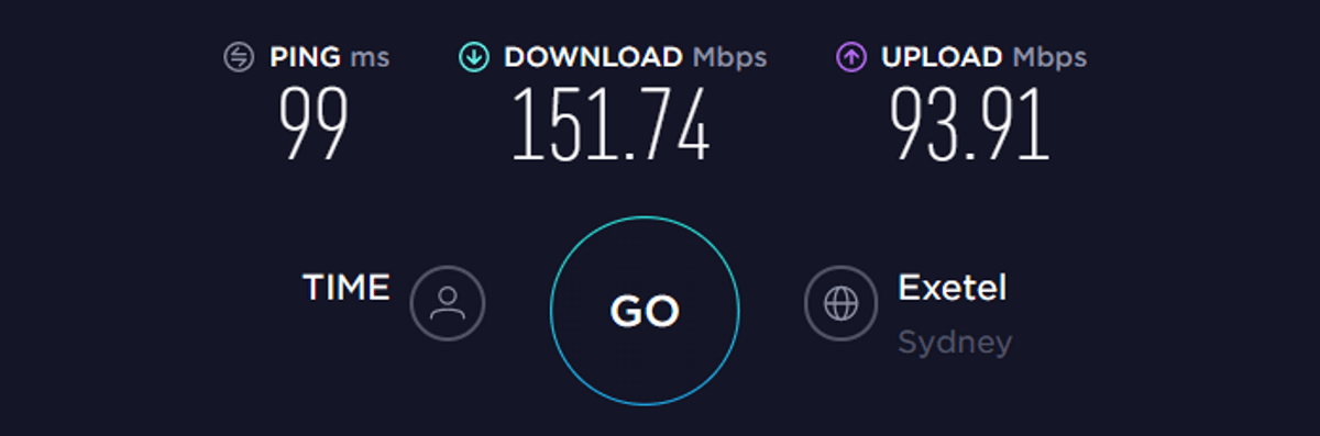 Test di velocità TorGuard Australia VPN disattivata