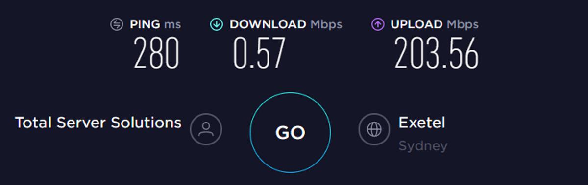 Test di velocità TorGuard Australia VPN attivata