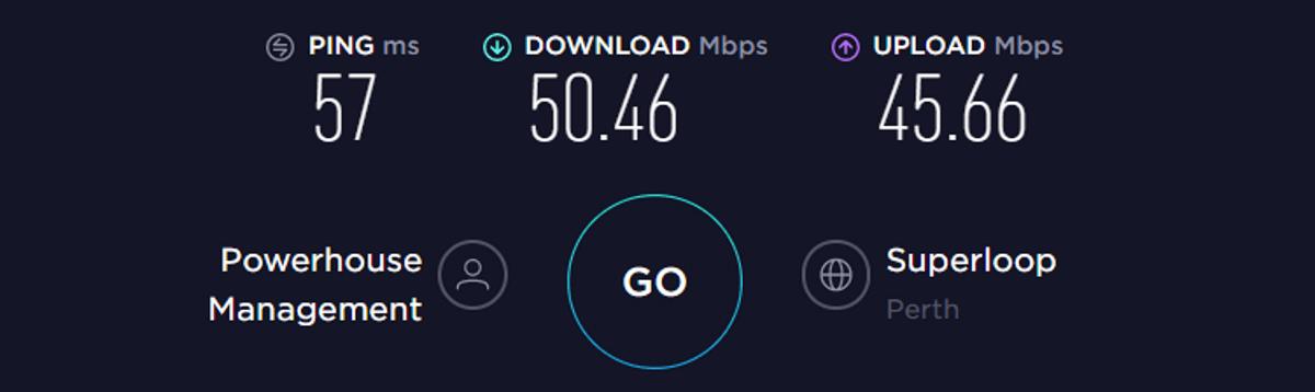 Testi di velocità VyprVPN Australia VPN attivata