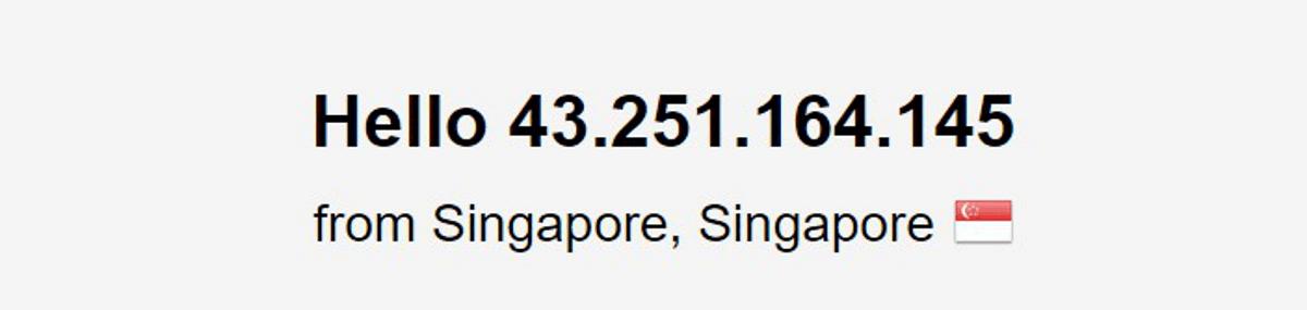 VyprVPN connesso tramite il server di Singapore